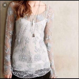 Anthropologie Everleigh Women's Large Gray Top